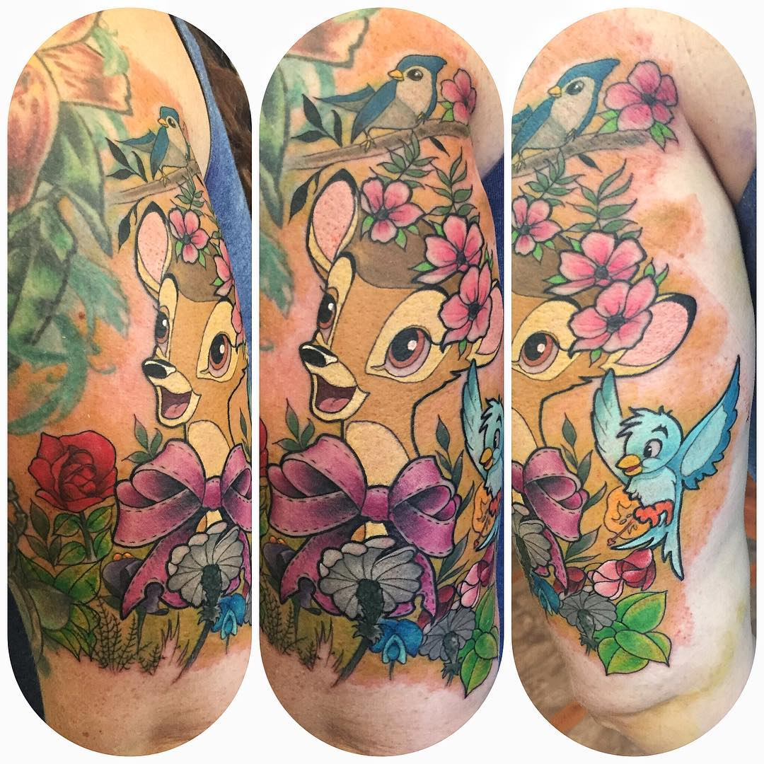 Bambi neo-traditional tattoo