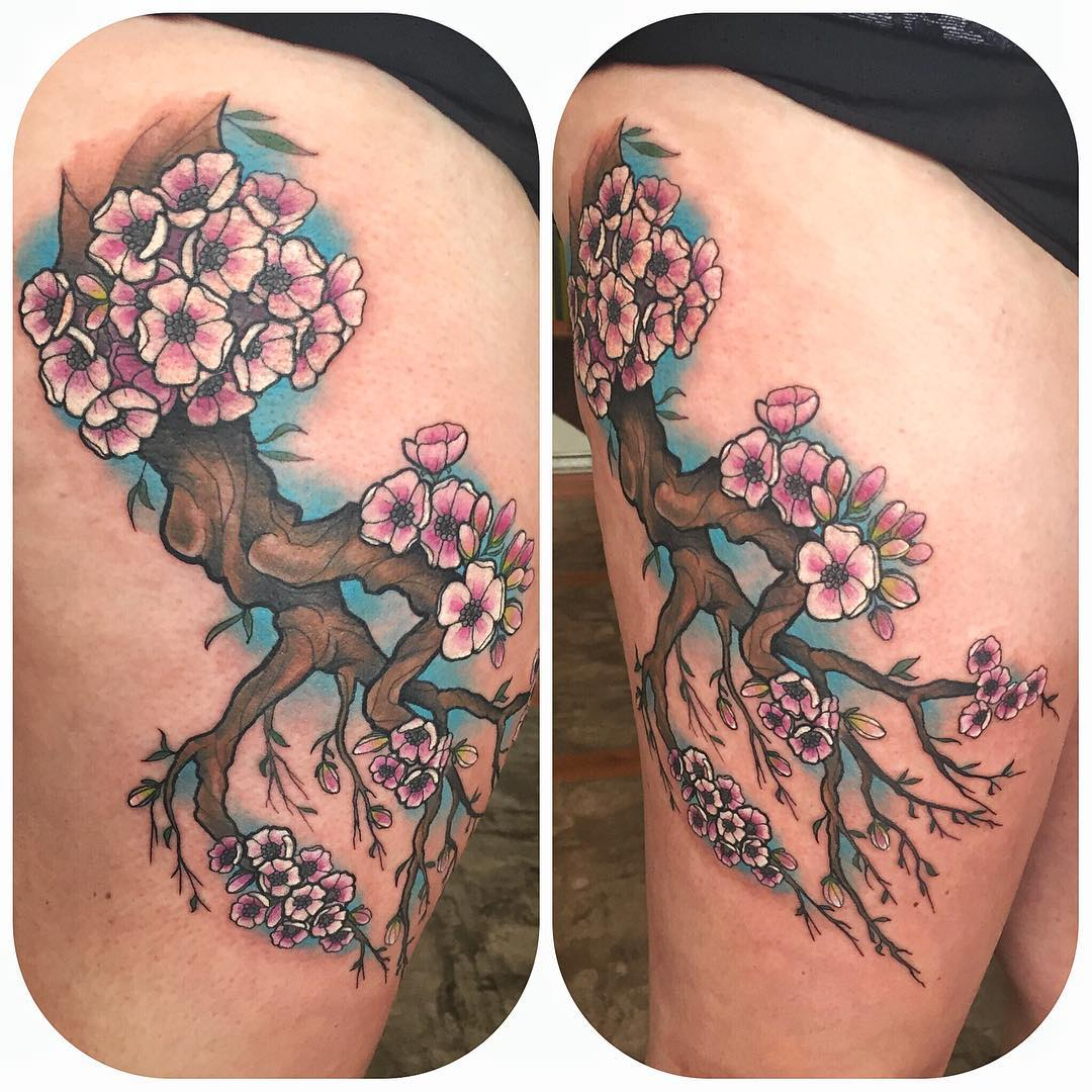 cherry blossom neo-traditional tattoo
