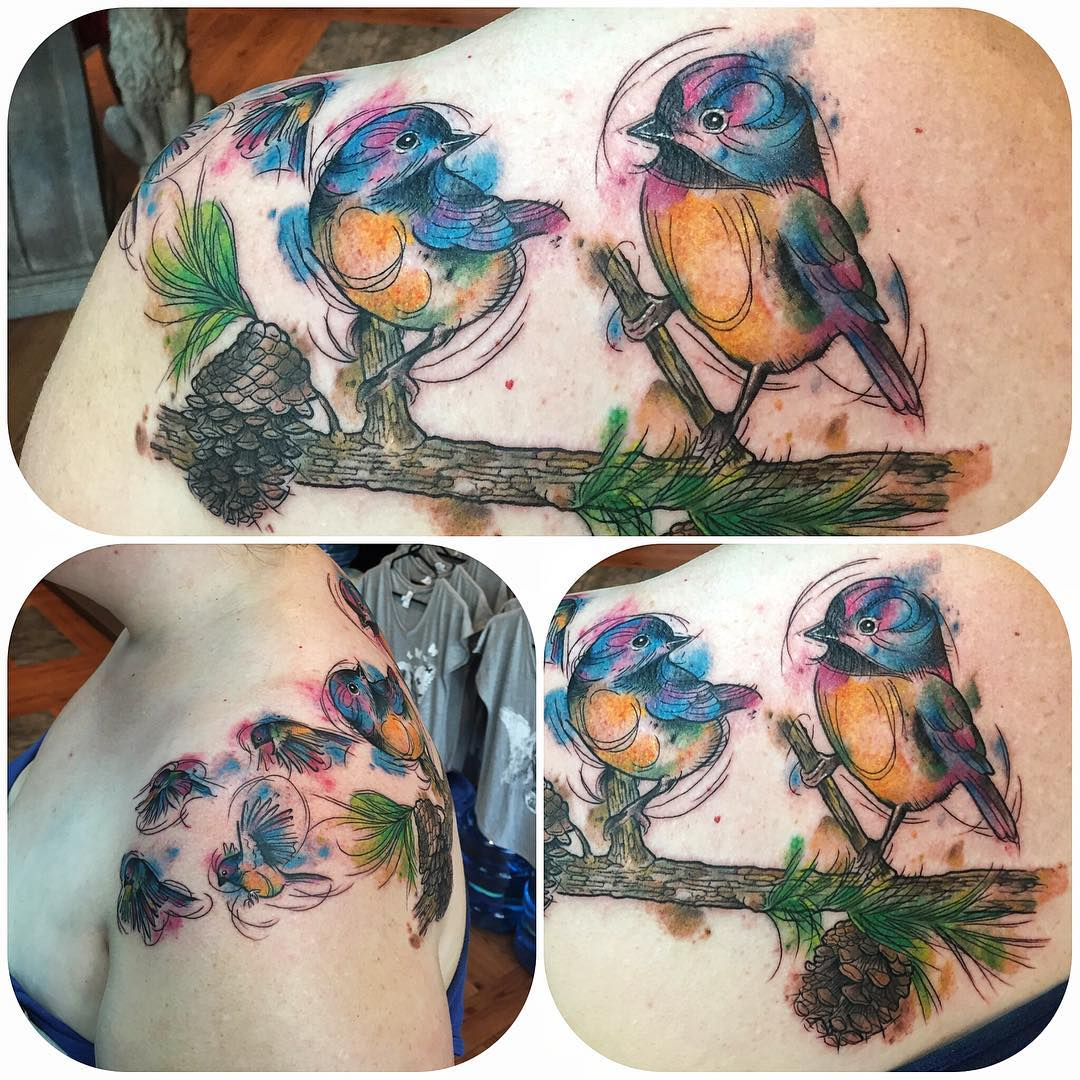 Chickadee watercolour tattoo
