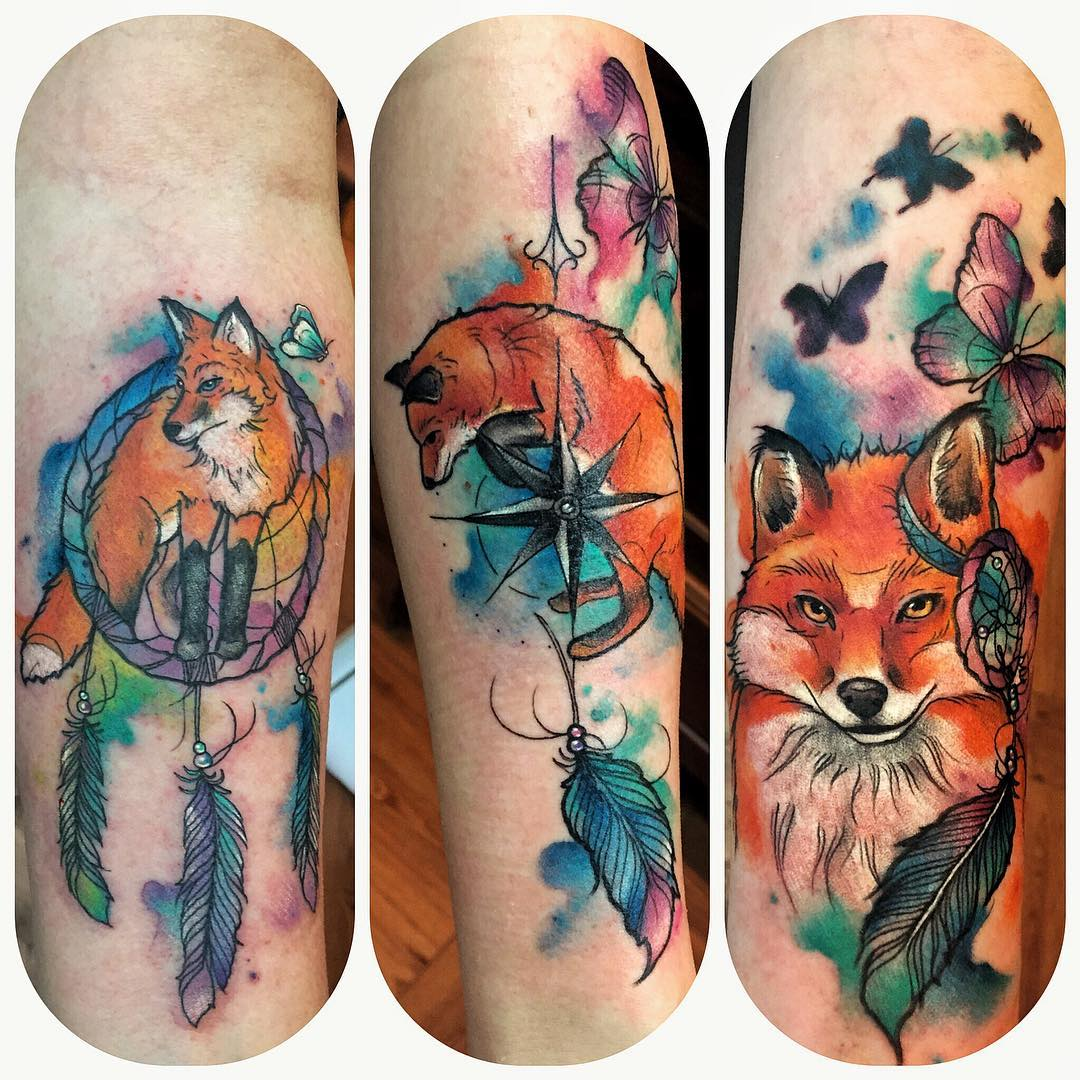 foxes watercolour tattoo