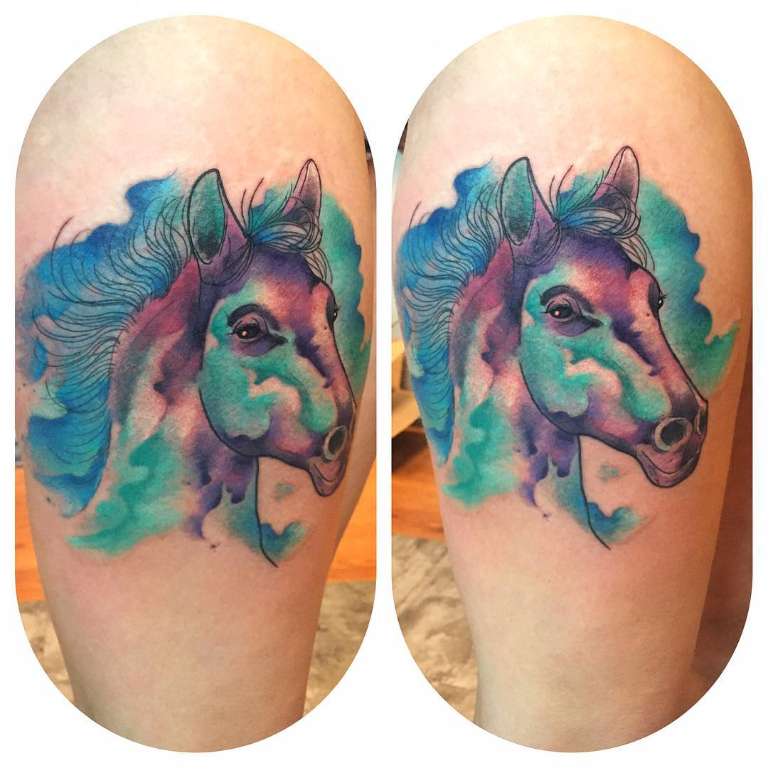 Horse Head Watercoour Tattoo Level Up Tattoo Studio