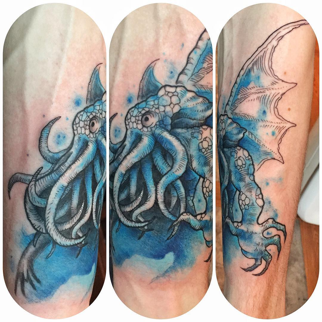 kraken watercolour tattoo