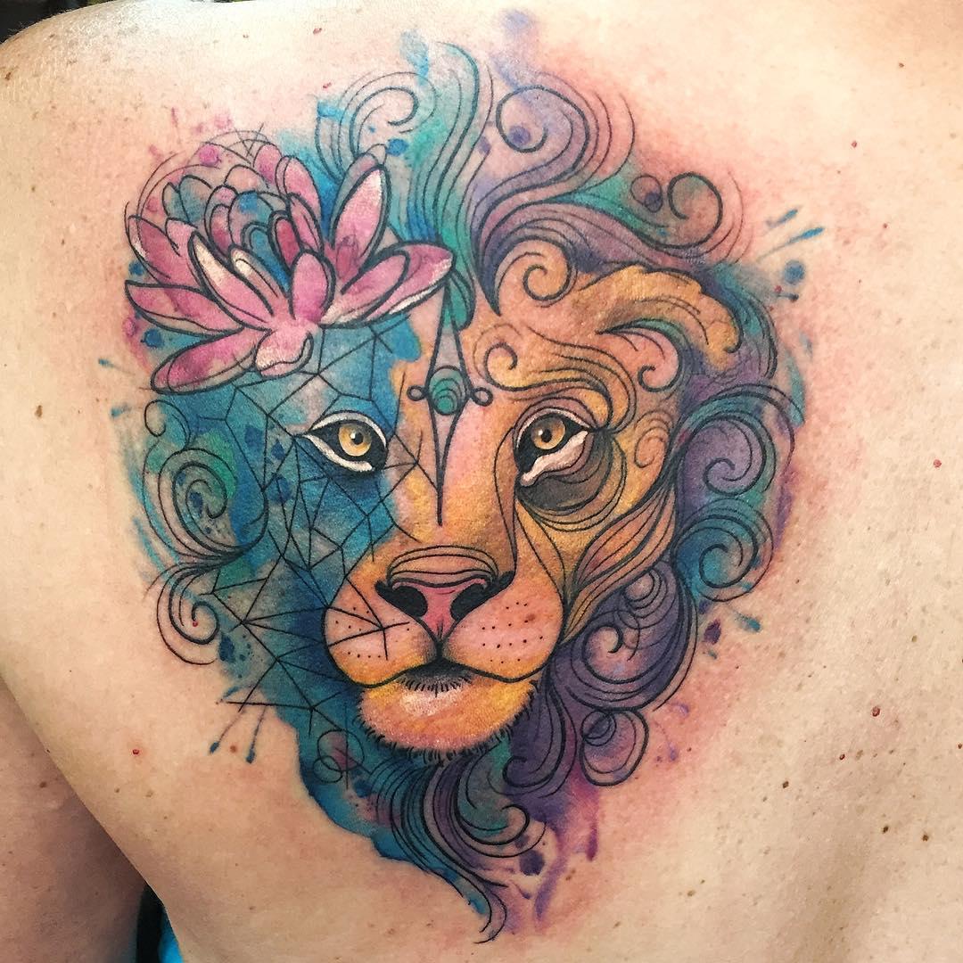 lion flower geometric watercolour tattoo