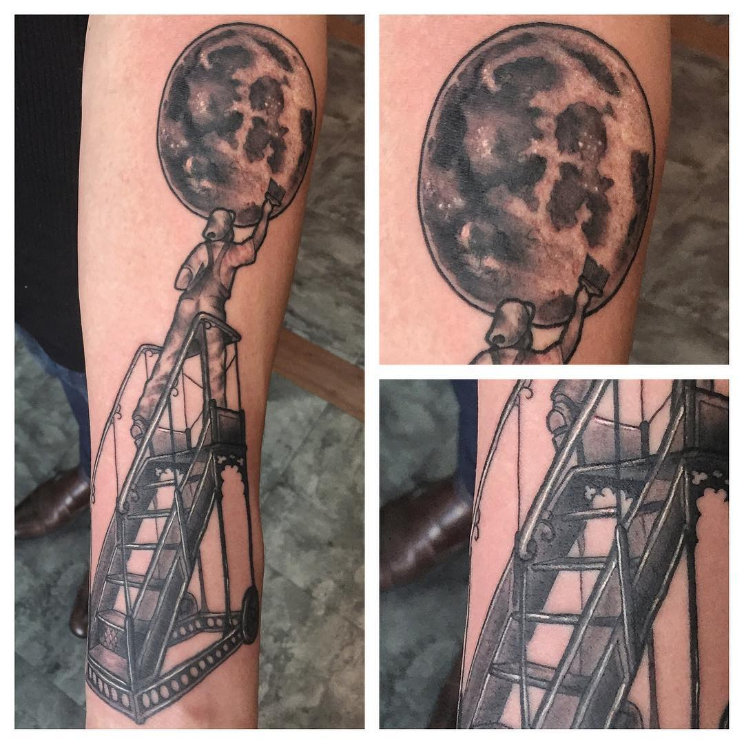 moon art blackwork tattoo