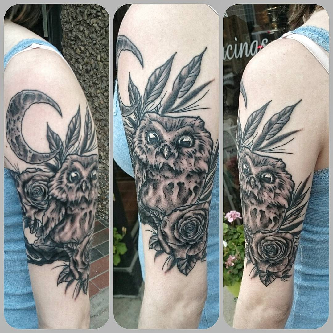 Owl blackwork tattoo