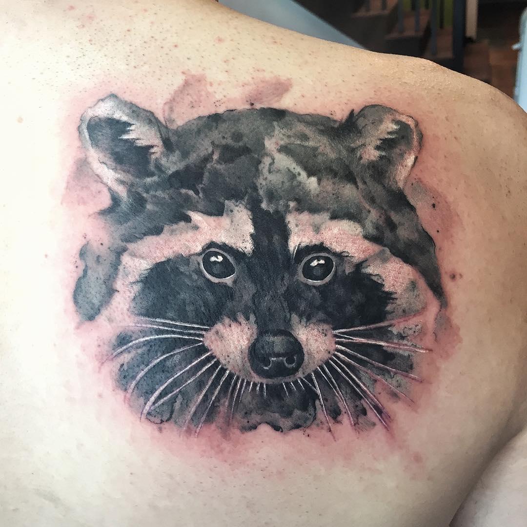 Racoon face Blackwork Tattoo