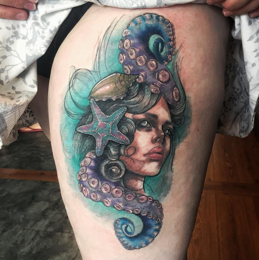 sea maiden (mermaid) neo-traditional tattoo