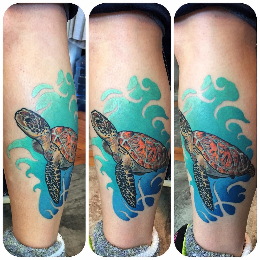 sea turtle neo-traditional tattoo