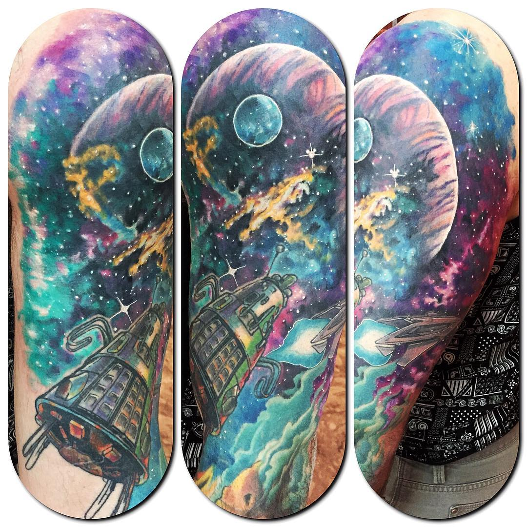 space travel neo-traditional tattoo